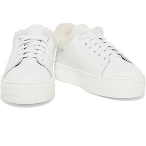 Maje White Faux Fur Lined Sneakers Size 38